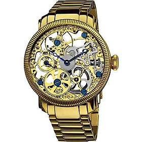 Akribos XXIV Automatic Skeleton Mechanical Men's Watch - See Through Dial with IP Case with A Skeletonized Dial on Luxury Bracelet - AK525