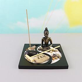 Tượng phật thích ca + đế + nến + cát + sỏi + nhang + đế nhang trang trí để bàn tiểu cảnh bát quái