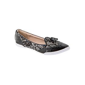 Giày Búp Bê Đế Bệt ADRIENNE NUDE LACE/BLACK Butterfly Twists BT22-011-126 - Đen