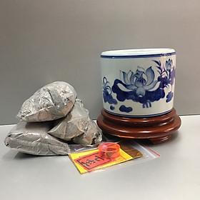 Bát hương, lư hương gốm sứ men xanh Ngọc Bát Tràng Cao Cấp ,combo bát hương cả đế gỗ và tro nếp + bộ cốt thất bảo để trong bát hương