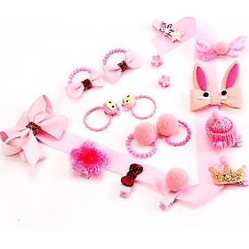 Set hộp kẹp tóc 18 chi tiết cho bé kèm túi xinh xắn màu hồng