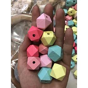 Hạt gỗ đa giác nhiều size túi 10 hạt, phụ kiện handmade macrame
