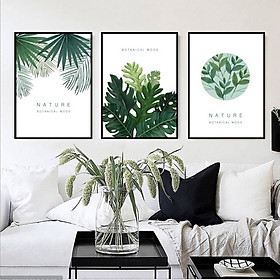 Tranh Treo Tường Canvas Chiếc Lá- Bộ 3 khung tranh treo tường phòng khách phòng ăn CV01