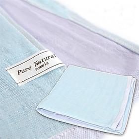 Khăn tắm dệt 5 lớp hai mặt OVLOV - Tím xanh/ khăn choàng, khăn trải giường cho bé