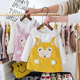 Sét váy yếm bé gái chất nhung hình gấu đáng yêu cho bé từ 10kg đến 20kg( màu hồng, vàng)