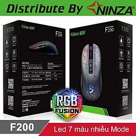 Chuột gaming chơi game có dây Fuhlen F200 3200DPI Led nhiều màu tem Ninza - Hàng chính hãng