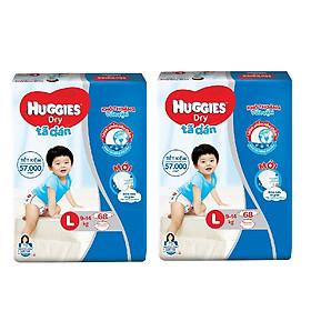 2 Gói Tã Dán Huggies Dry Gói Cực Đại L68 (68 Miếng) - Bao Bì Mới