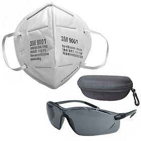 Combo 4 Khẩu trang 3M 9001 chống bụi tĩnh điện và 1 kính HoneyWell A700 râm, chống bụi, chống tia UV có hộp đựng kính
