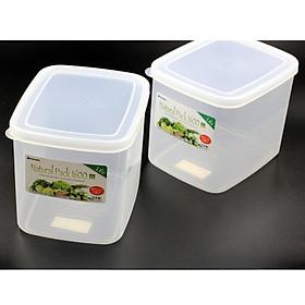Bộ 2 hộp thực phẩm vuông 1600ml Inomata - Hàng Nội Địa Nhật