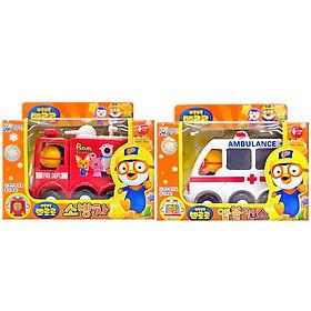 Combo 2 Xe Cứu Hỏa Và Cứu Thương Pororo (Fire Truck and Ambulane) PRM21038180 Nhập Khẩu Từ Hàn Quốc