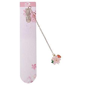 Bookmark Kẹp Sách Kim Loại Phối Charm Hình Hoa Sakura - Mẫu 3