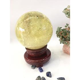 Quả cầu phong thủy Thạch anh vàng 4A - 2,05kg - 12,5cm (tặng đế)