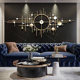 Đồng hồ phù điêu 1m75 mạ vàng sang trọng - Tranh sắt đồng hồ treo tường trang trí phòng khách và quà tặng tân gia