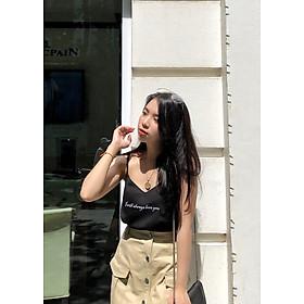 Áo hai dây thêu chữ thiết kế I always love you (Thời trang nữ thiết kế của Vietnam)