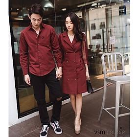 Đồ đôi Áo đôi áo cặp váy sơ mi phối ren nam nữ màu đỏ đô Hàn Quốc AV95 Đđi biển chụp hình cưới - Smice House