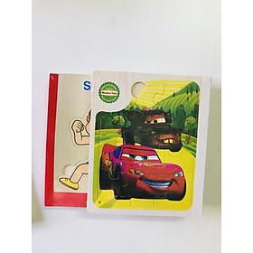 Sách gỗ ghép hình - Combo 2 cuốn sách gỗ ghép hình chủ đề thể thao , ô tô  cho bé 1 tuổi Gnu04