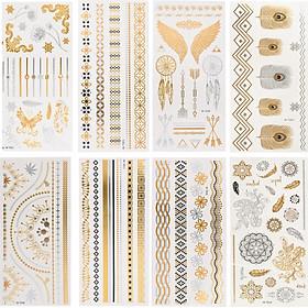Combo 8 tờ hình xăm dán nhũ ánh kim nghệ thuật 3D họa tiết henna 21*15cm