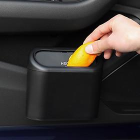 Thùng rác mini có nắp, hộp đựng rác có chốt cài treo thành cửa treo lưng ghế ô tô, xe hơi- Hàng chính hãng