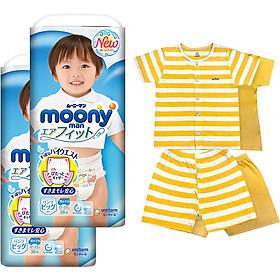 Bộ 2 tã quần cao cấp bé trai Moony XL38 [Tặng bộ quần áo Nous 18-24m]