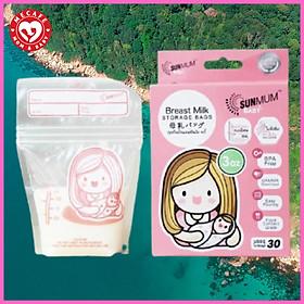 Hộp 30 túi trữ sữa sunmum mini 100ml Thái Lan (có tem niêm phong) tặng 2 zipper 15x20cm