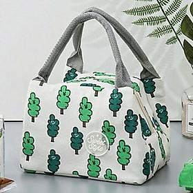 Túi đựng cơm vải Offord có lớp giấy bạc giữ nhiệt hình cây thông + tặng kèm 1 sổ nhỏ