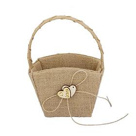 Square Flower Basket with Hemp Rope Bowknot Double Loving Heart Shape Wooden Décor - Hemp yellow