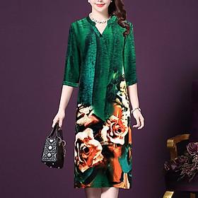Đầm Suông Trung Niên Kiểu Đầm Trung Niên Cao Cấp Tay Lỡ In Hoa Hồng - THỜI TRANG TRUNG NIÊN NỮ GOTI 3231
