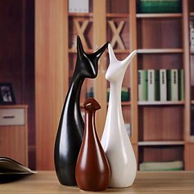 Bộ ba tượng gốm sứ mèo ba màu - TMBM03