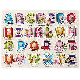 Combo 2 bảng ghép gỗ núm chủ đề chữ và số