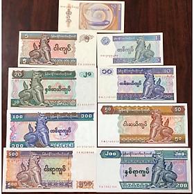 Bộ 9 tờ tiền của Myanmar con Lân sưu tầm