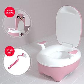 Bô Vệ Sinh Cho Bé - Bệ Ngồi Toilet Trẻ Em Có Chỗ Dựa Và Khay Hứng Vệ Sinh Tháo Lắp Dễ Dàng