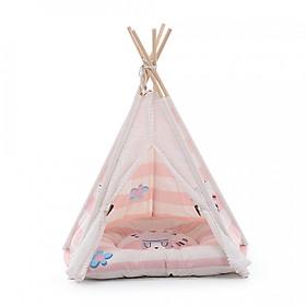Hình đại diện sản phẩm Pet Dog Cat Teepee Tent Dog Tent Bed Pet Teepee Tent House with Cushion - Pink