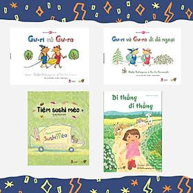 """Combo 4 cuốn Tranh Truyện Ehon Chủ đề """"Nhà mình cùng vào bếp"""" gồm : Gư-ri và Gư- ra, Gư-ri và Gư-ra đi dã ngoại, Tiệm Sushi Mèo, Đi thẳng đi thẳng"""