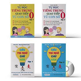 Combo 4 sách: Siêu trí nhớ chữ Hán tập 01 + tập 02 và Tự học tiếng trung từ con số 0 tập 1 + tập 2 kèm DVD Audio sách nghe