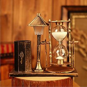 Đồng hồ cát kèm ống đựng bút có đèn phát sáng thông minh phong cách cổ điển mã ĐHC105 - vật dụng trang trí, quà tặng ý nghĩa