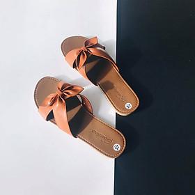 [ Shop giày somina ] Dép bệt quai chéo nơ MT633