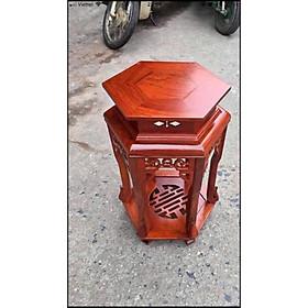 Đôn lục giác gỗ hương cao 50, 70 , 80 cm mặt 30 cm
