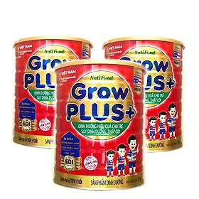 Bộ 3 lon sữa bột GrowPLUS+ Đỏ 1500 Gr : sữa dành cho trẻ từ 1- 10 tuổi bị suy dinh dưỡng thấp còi (mẫu mới) của NutiFood