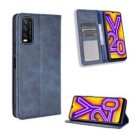 Bao da dành cho Vivo Y20 Flip Wallet Leather dạng ví đa năng siêu bền siêu êm