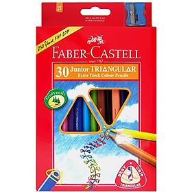 Faber-Castell-11653830-Chì Màu Junior Triangular - 30 Màu Dài + Chuốt