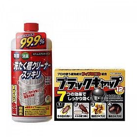 Combo Nước tẩy vệ sinh lồng máy giặt Rocket + Thuốc viên diệt gián nội địa Nhật Bản