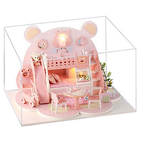 DIY Miniature Dollhouse with Furniture and LED Lights Pink Bear 3D Wooden Doll House Creative Birthdays Festivals