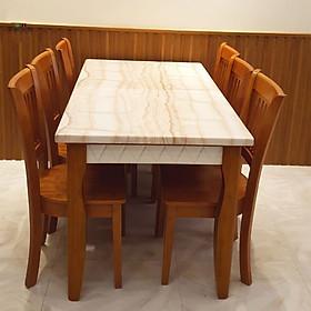 Bàn ăn gỗ mặt đá 6 ghế HTP-BA 21