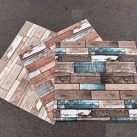 Bộ 10 tấm xốp dán tường vân gỗ nhiều màu