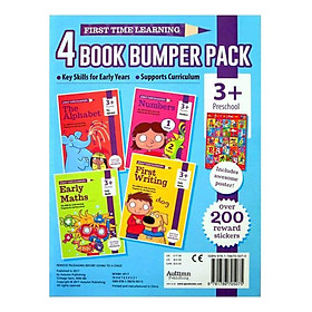 First Time Learning - 4 Book Bumper Pack  : The Alphabet , Early Maths , Numbers and First Writing (Ages 3+) (Includes Awesome Poster)