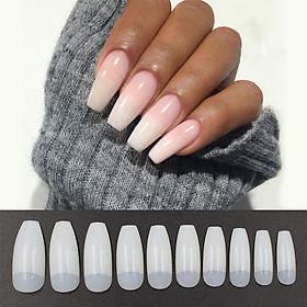500pcs/set Ballerina Nail Art Tips Natural False Nails Art Tips Flat Shape Full Cover Manicure Fake Nail Tips