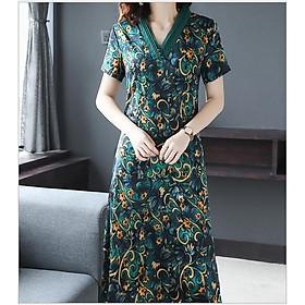 Đầm Maxi nữ  Anas Ya xanh phối hoa đậm chất Hàn - D01114