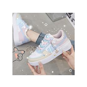 Giày Thể Thao Style Sneaker Nữ Tặng Kèm Bộ Icon Cute Đế Cao 4CM Da PU - MSP 3227