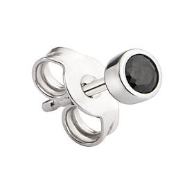 Bông tai nam bạc đính đá màu đen PNJSilver ZT00K000052-BO