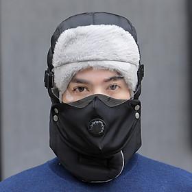 Mũ len kèm khăn khẩu trang và kính che mắt ( Mầu ngẫu nhiên )